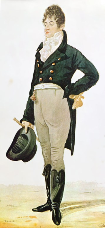 A painted caricature of Beau Brummell in a suit