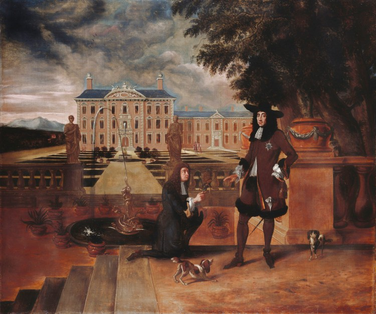 a painting of a gardener handing Charles II a pineapple