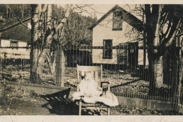 A photograph of a laughing baby in a chair outside in a yard