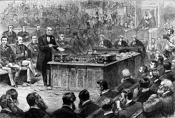 A black and white drawing of Parliament having a debate