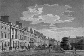 A black and white etching of Grosvenor Square in London