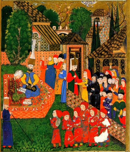 painting depicting the recruitment of Christian boys to the janissaries
