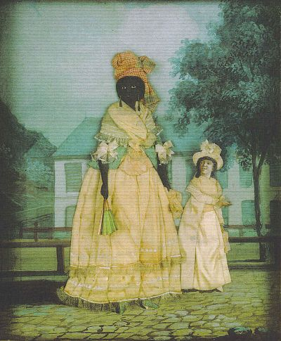 Slave Codes, Black Codes and Jim Crow Laws: Codifying the Color Line. Free woman of color with quadroon daughter; late 18th century collage painting, New Orleans. Public Domain