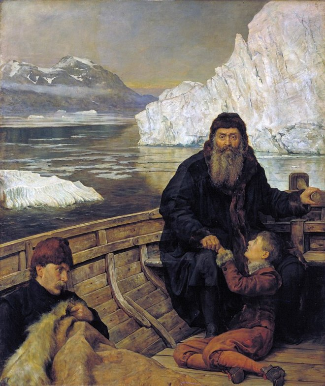 A painting depicting an older, bearded man holding a young boy while steering a small boat surrounded by mountains of ice