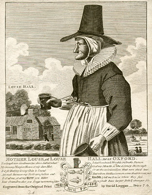 An engraving featuring a woman with trademark witch chin, nose, and hat carrying tankards of ale