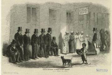 an engraving of several well dressed men in suits standing by as enslaved women are inspected by potential purchasers