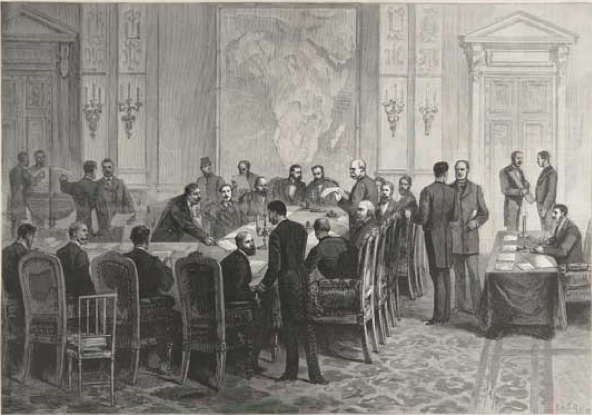 A black and white image of several white men around a conference table. Victorian imperialism in the 19th century