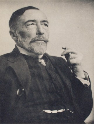 A black and white photograph of Joseph Conrad. Victorian imperialism in the 19th century