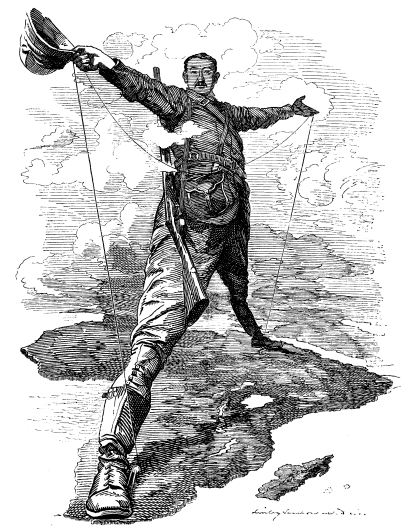 A etching of Cecil Rhodes standing with his body spanning the African continent. Victorian imperialism in 19th century