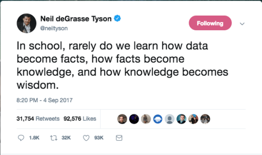 a screenshot of Neil DeGrasse Tyson's tweet quoted in text