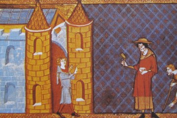 a 14th century era painting depicting two lepers being denied entrance into a town