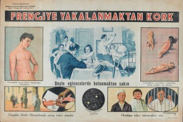 A illustrated poster showing the various consequences of syphilis, including skin lesions, birth defects, and social stigma