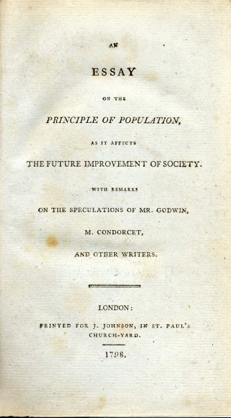 The title page of Thomas Malthus's book, An Essay on the Principle of Population