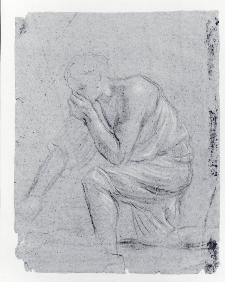 A pencil sketch depicting a man covering his face to avoid breathing in harmful miasmas