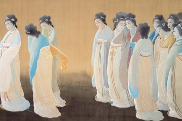 A painting of several Japanese women