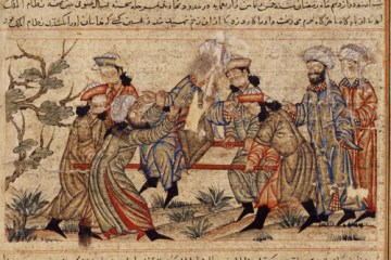 14th century painting of the assassination of Nizam al-Mulk