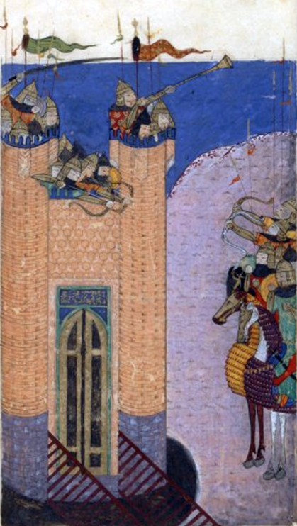 A painting of the siege of Alamut, 1256