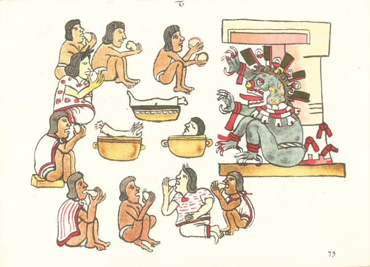 Image of Cannibalism among the Aztec from 16th-century codex.