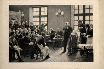 Jean-Martin Charcot demonstrating hysteria in a hypnotised patient at the Salpêtrière. Etching by A. Lurat, 1888, after P.A.A. Brouillet, 1887