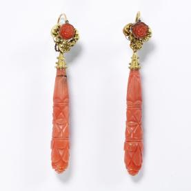 Carved coral earrings, Italy c.1830, Victoria & Albert Museum (M.4&A-1962)