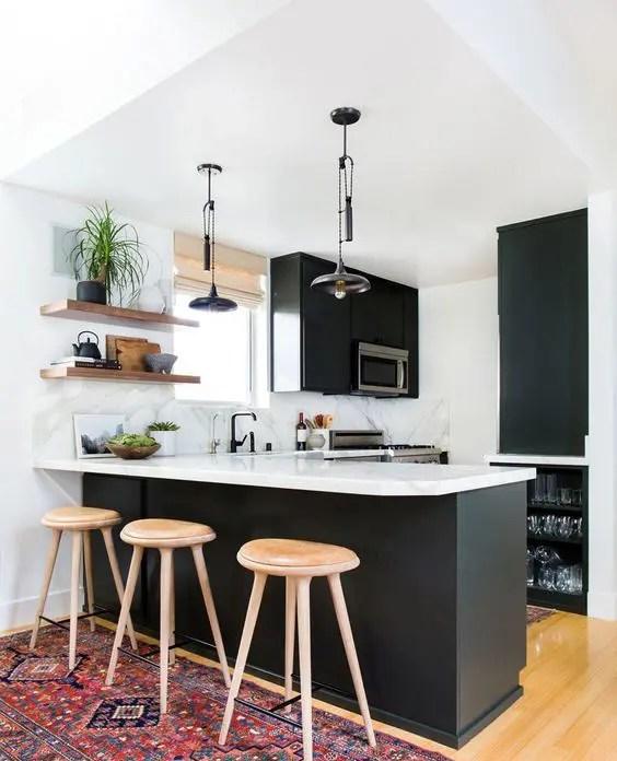 Minimalist Small Black And White Kitchen Novocom Top