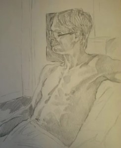 Life drawing of a male model in pencil