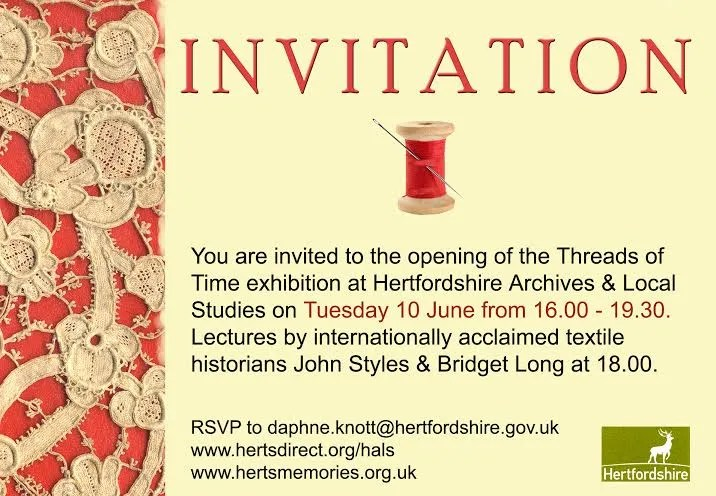 Digswell Alumni to show work 'Threads of Time' at County Hall, Hertford.