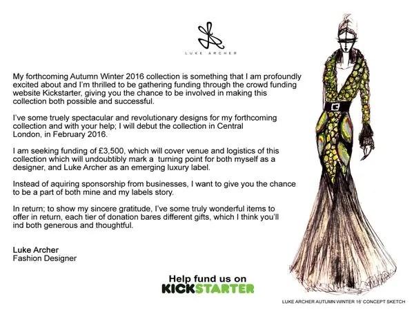 Luke Archer's Kickstarter campaign