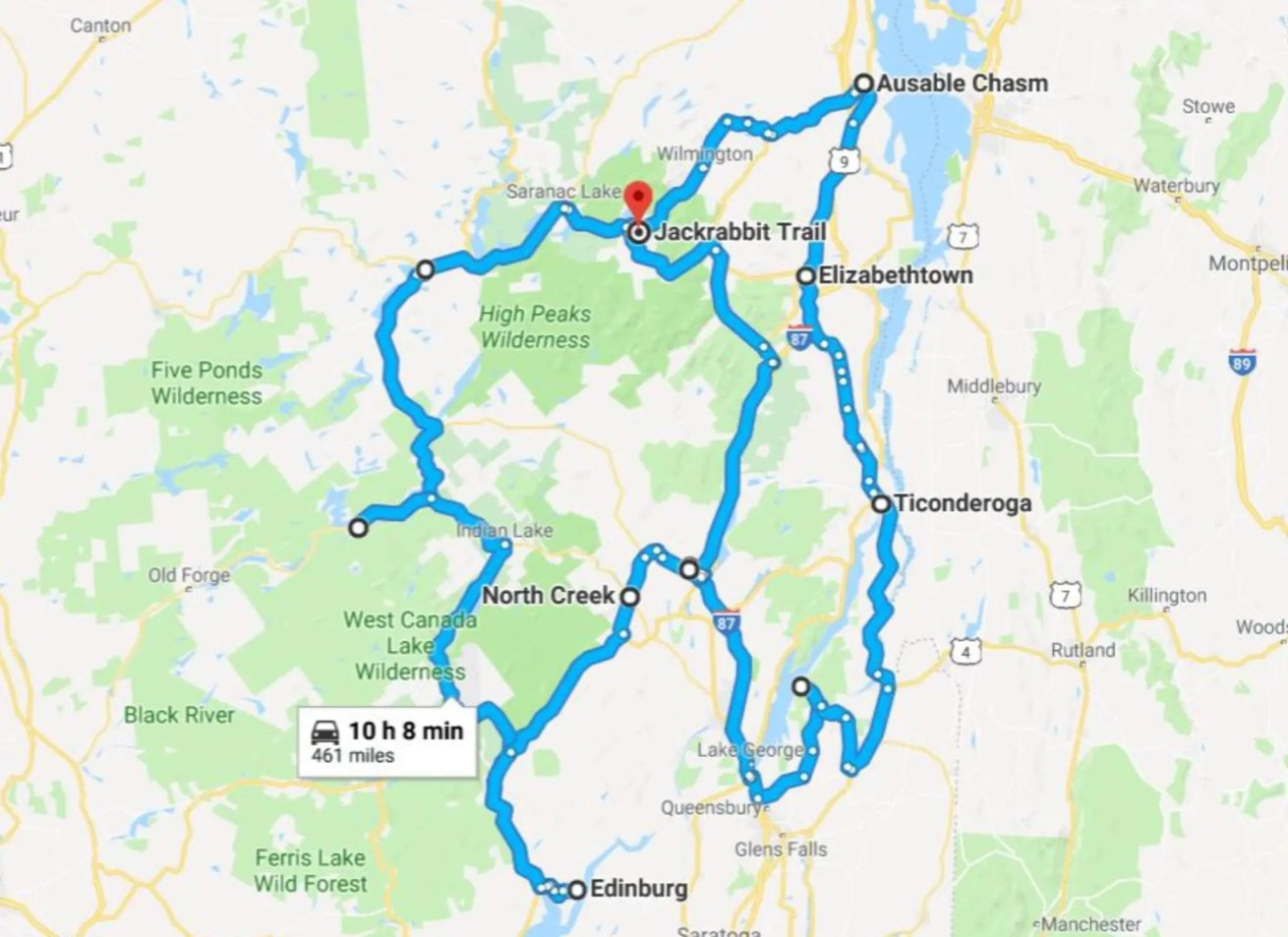 Ultimate Adirondack Waterfall Roadtrip Map