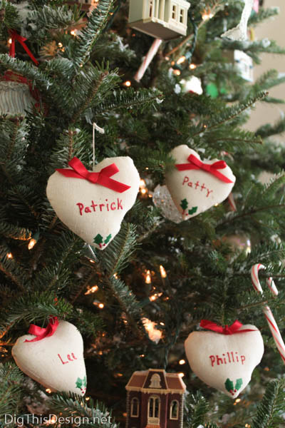 Tree with DIY family Christmas ornaments, heart pillow christmas decor with family member's names