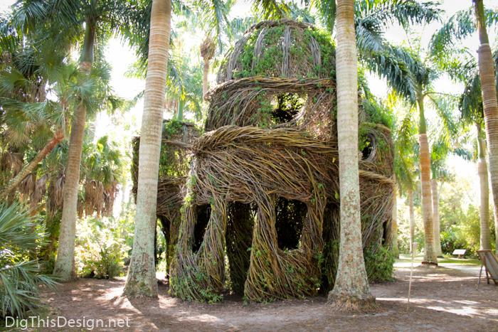 Stickwork by Patrick Dougherty at Mckee Botanical Garden in Vero Beach, Florida.