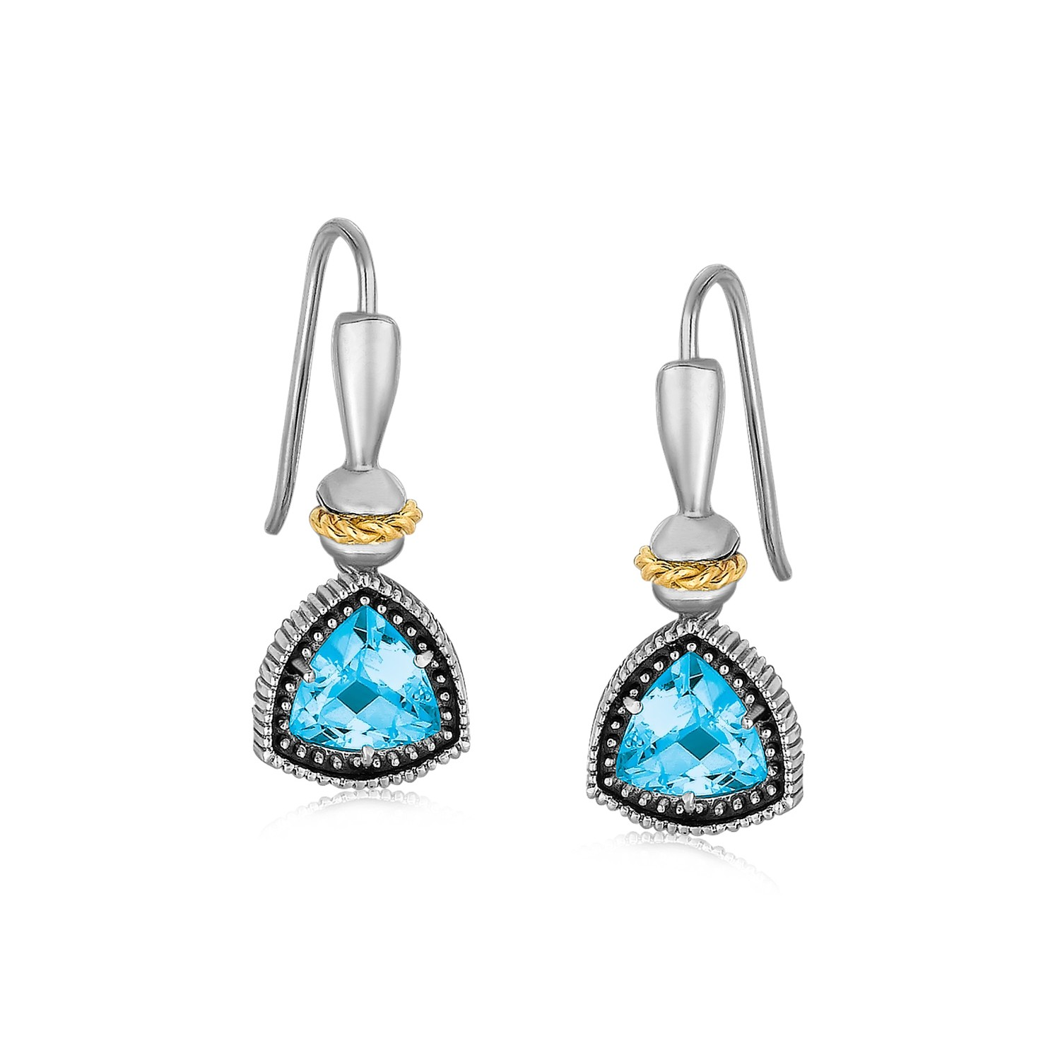 Blue Topaz Trilliant Cut Earrings In 18k Yellow Gold And