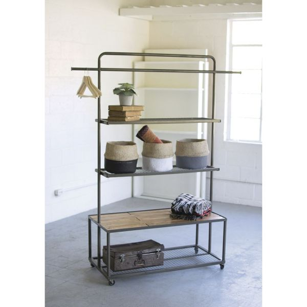 Grey Industrial Display Unit With Wire Mesh Shelves and Wood     Grey Industrial Display Unit With Wire Mesh Shelves and Wood Platform  42L  x 20D x 72H