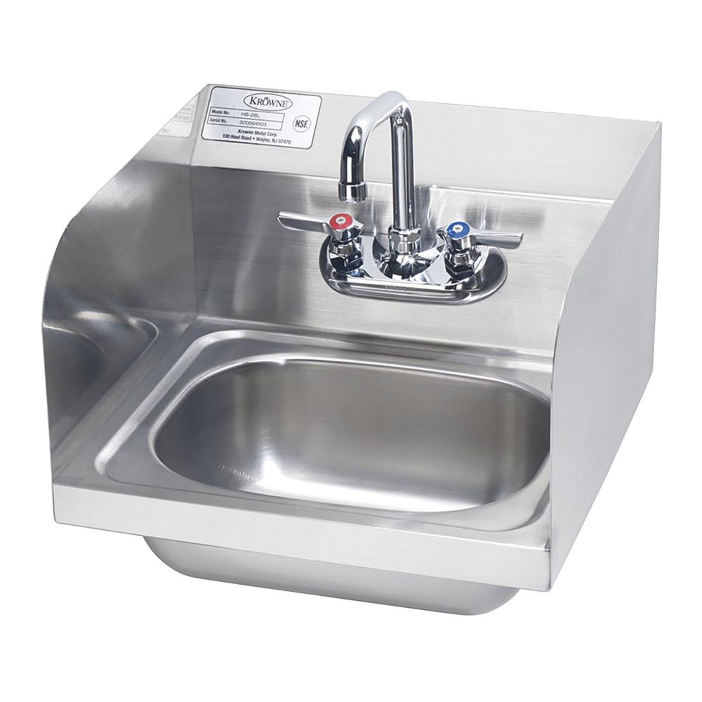 krowne hand sink with faucet and side splashes 15 3 4 l x 15 1 4 w x 13 3 8 h