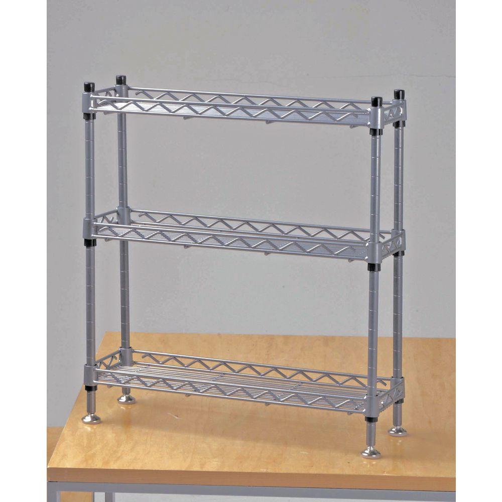 hubert soft silver steel narrow countertop 3 shelf display 18 l x 6 d x 18 1 2 h