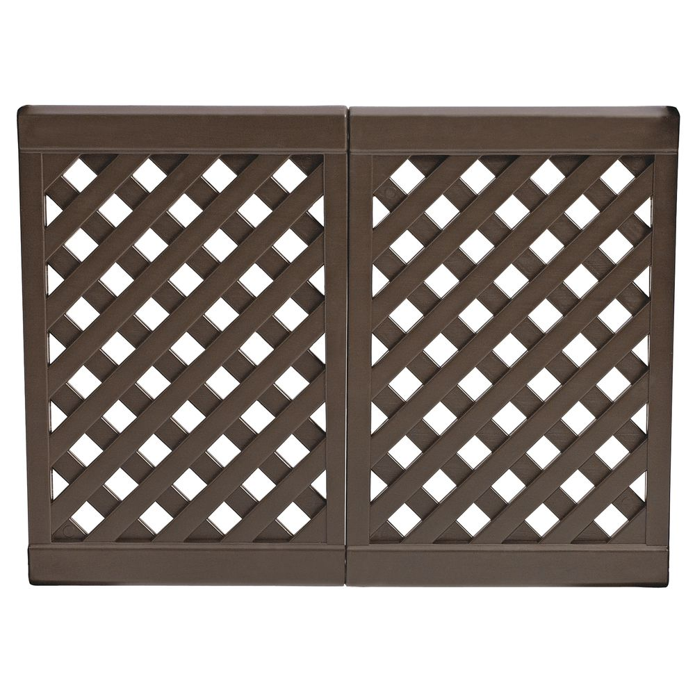 grosfillex 2 panel brown resin interlocking outdoor patio fence 40 l x 29 1 2 h