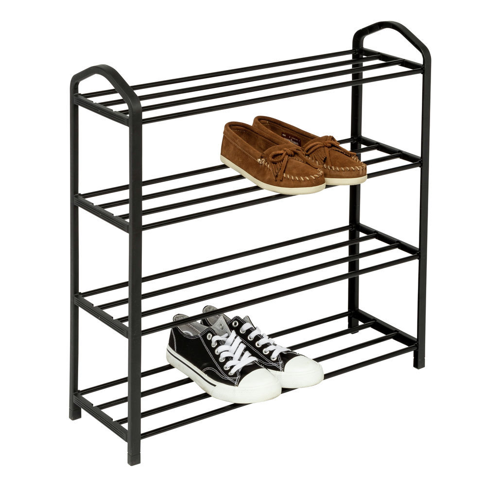 4 tier black metal and plastic shoe rack
