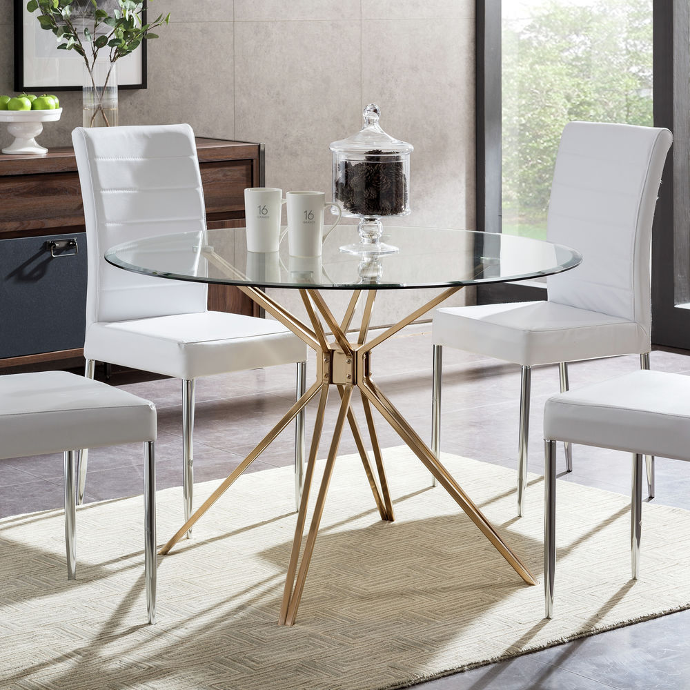 Southern Enterprises Atticus Round Dining Table Gold