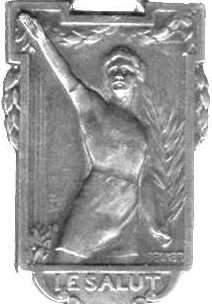 [französische Olympia-Plakette 'le salut (der Gruß)']