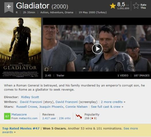 En İyi Aksiyon Filmleri Gladyatör