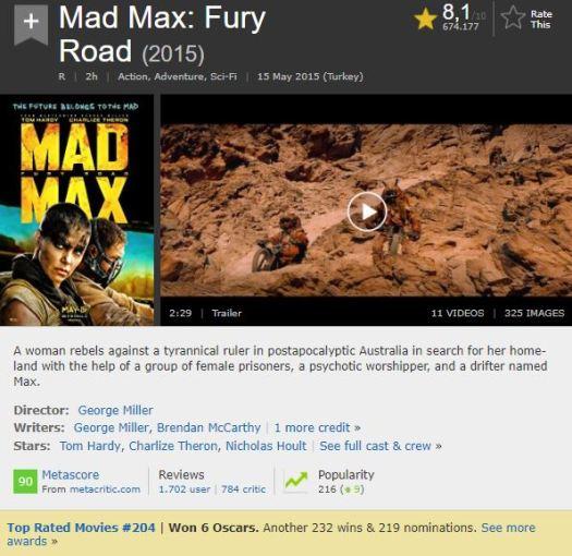 En İyi Aksiyon Filmleri Mad Max Fury Road