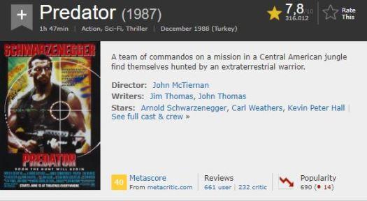 En İyi Aksiyon Filmleri Predator