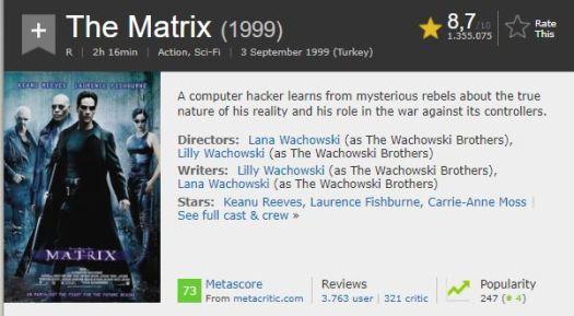 En İyi Aksiyon Filmleri Matrix