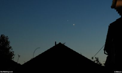 Jupiter (right), next to Venus (left) one hour after sunset as seen by the unaided eye.
