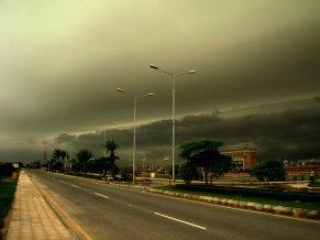 Clouds grouping to rain in an urban posh area
