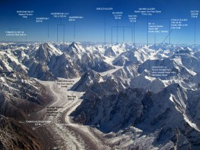 The beautiful coincidence point of Siachen and Baltoro glaciers (75 km & 64 km respectively).The two longest non-polar glaciers in the world.More than 60 peaks (above 7000 metres) of Karakoram mountain range are clustered around the both two.Baltoro glacier contains 28 peaks above 7000 metres with 4 even above 8000 metres & the Siachen glacier contains 32 peaks above 7000 metres.