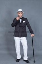5842. Костюм гангстера. В комплекте: пиджак, брюки, трубка, трость, бабочка, шляпа.