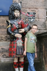 Me with a bagpiper statue