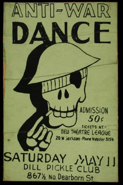 Anti-War Dance poster, Artist Unknown, Undated Dill Pickle Club Records, Newberry Library