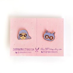 BFF pin set - I like Cats - AndSmileDilly and the Boo mothers day gift guide 2017